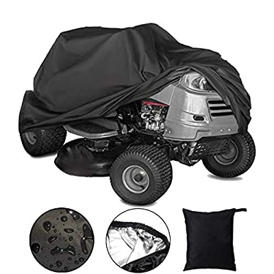 "Lawn Mower Cover Riding Lawn Tractor Cover Riding Mower Cover r Fits Decks up to 54"" with Storage Cover 210D Polyester Oxford Waterproof UV Resistant Heavy Duty Durable (L72"" xW54"" xH46"")"