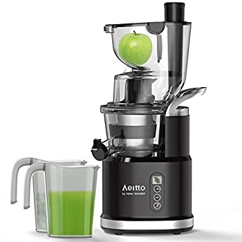 Image of Cold Press Slow Juicer, Aeitto Portable Big Wide 81mm Chute LED Display Masticating Juicer for Nutrient Fruits and Vegetables, Vertical Juicer Machine BPA Free with Quiet Motor & Reverse Function, Easy to Clean Home and Kitchen