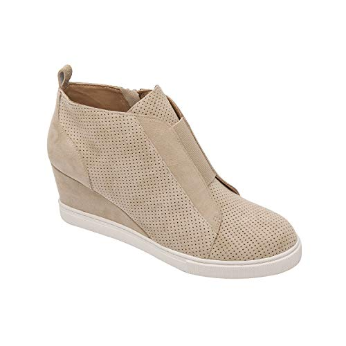 Felicia | Our Original Platform Wedge Sneaker Bootie in Sand Perforated Suede 8M