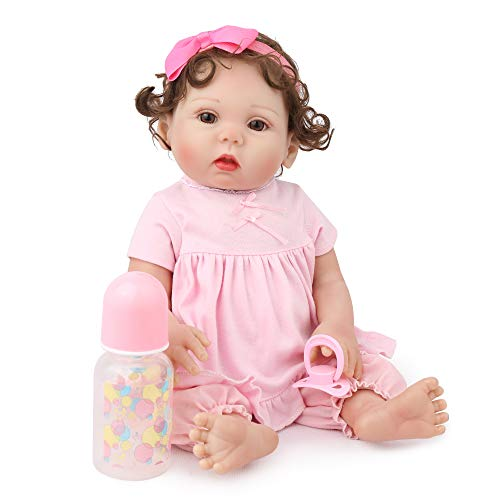 CHAREX Full Vinyl Reborn Baby Dolls Lucy, 18 inch Newborn Baby Dolls Bath Waterproof Lifelike Gift Set