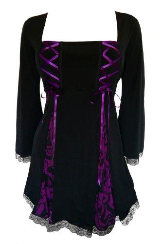 Dare to Wear Victorian Gothic Boho Women's Plus Size Gemini Princess Corset Top Blackberry Brocade 3X