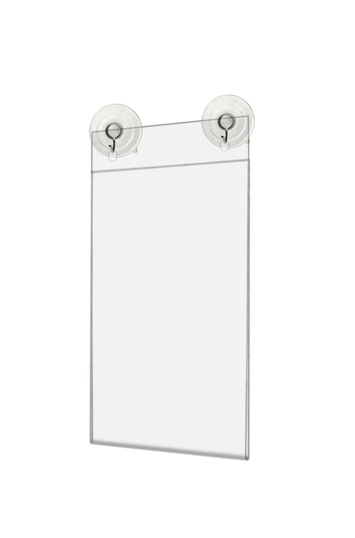 Marketing Holders Window Flyer Frame Glass Mount Advertisement Sign Display Literature Holder with Suction Cups and Hanging Hooks 4''w x 6''h Pack of 24 by Marketing Holders (Image #1)