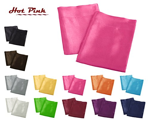 Aiking Home 2 Pieces of Colorful Shiny Satin Queen Size Pillow Cases, Hot Pink