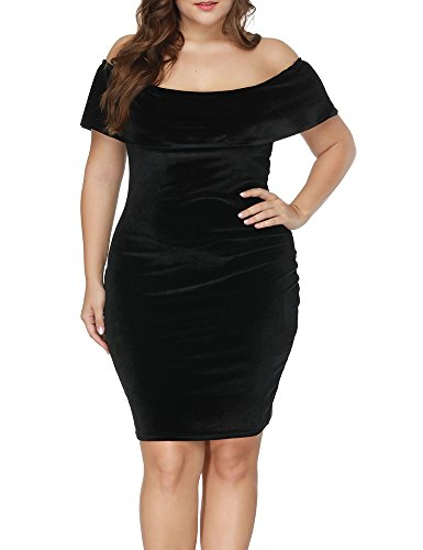 Allegrace Women Plus Size Velvet Off The Shoulder Cape Cloak Bodycon Midi Dresses Black 1X