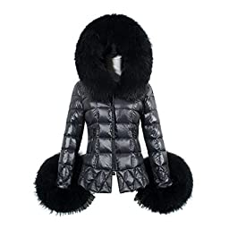 Tops,BeautyVan Fashion New Winter Women\'s Down Cotton Parka Fur Collar Hooded Coat Quilted Jacket (S, Black)