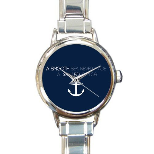 Christmas Day Gift A Smooth Sea Never Made a Skilled Sailor Anchor Round Italian Charm stainless steel Watch