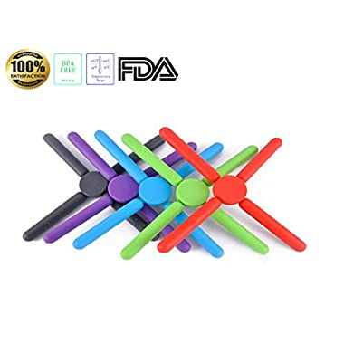 Tenta Kitchen Foldable Silicone Trivets-expandable/collapsible(pack of 5)