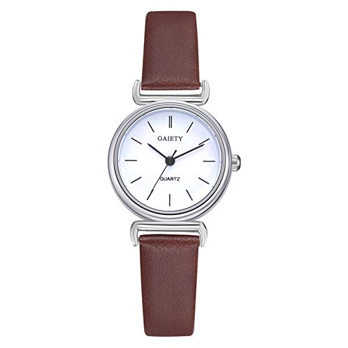 (Round Dial Watch, 4 Colors Fashionable Simple Casual Analog Quartz Movement Wristwatch with Adjustable PU Leather Strap(Brown) )