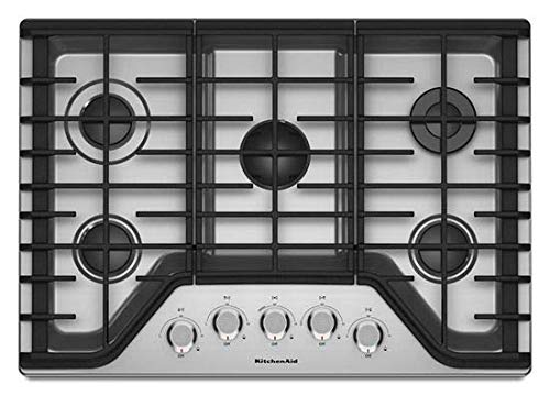 "KITCHENAID KCGS350ESS 30"" Gas Cooktop with 5 Sealed Burners, 17K BTU Multiflame Burner, Even-Heat 5K BTU Simmer Burner, Electronic Ignition, Metal Control Knobs,and Full-Width Cast-Iron Grates in Stainless Steel"