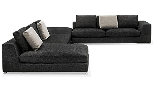 Comodo Sectional Sofa – Left Chaise With Ottoman – Black