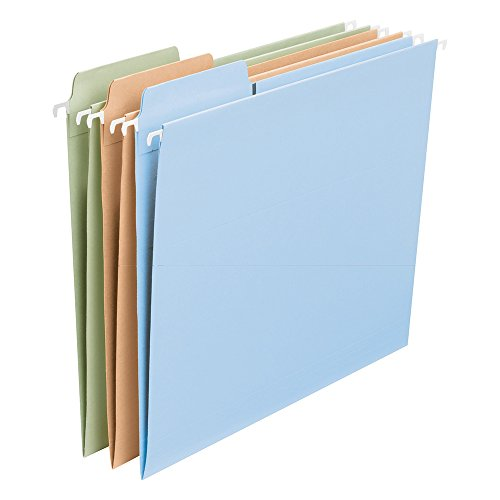 Smead FasTab Hanging File Folder, 1/3-Cut Built-in Tab, Letter Size, Assorted Colors, 18 per Box ()