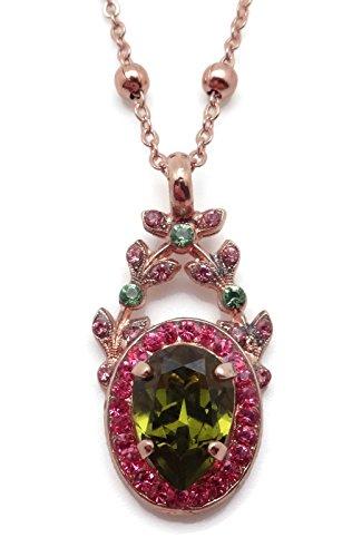 Mariana Tutti Frutti Swarovski Crystal Rose Goldtone Pendant Necklace Green & Pink Oval with Vine 142