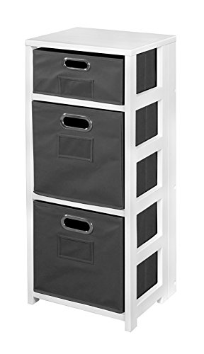 Niche FFSQ3412WHGY Flip Flop Square Folding Bookcase Fabric Bins, 34