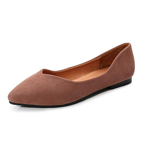 (Meeshine Womens D'Orsay Pointy Toe Ankle Strap Buckle Comfort Ballerina Ballet Flats Shoes(9.5 B(M) US,Brown 02))