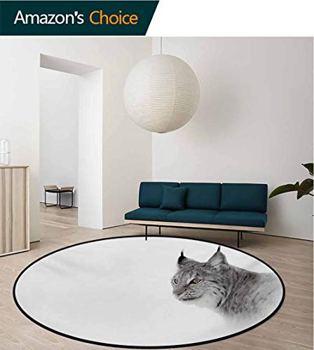 RUGSMAT Hunting Non-Slip Area Rug Pad Round,Lynx in The Central Norway Wild Cat North Cold Snowy Mountain Carnivore Predator Protect Floors While Securing Rug Making Vacuuming,Round-39 Inch