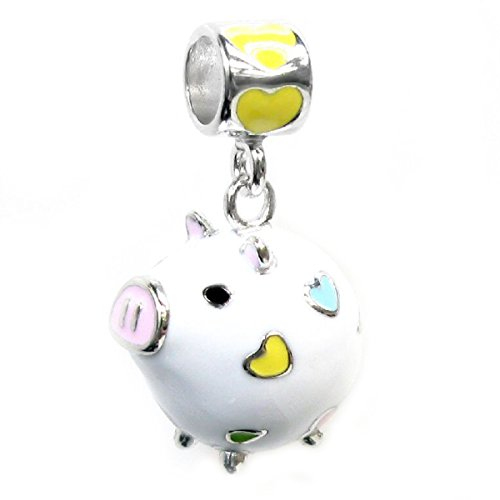 Queenberry Rhodium-plated Sterling Silver 3-D White Pig Enamel European Style Dangle Bead Charm