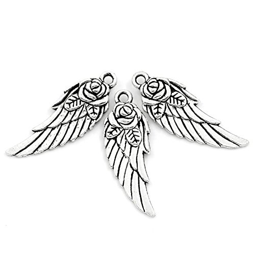(PEPPERLONELY Brand 30PC Antiqued Silver Rose Angel Wings Charms Pendants 31x11mm (1-7/32x7/16 Inch))