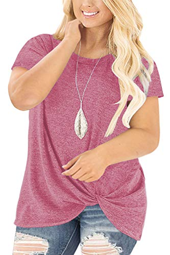 Plus Size Tee Tops for Women Casual Knotted Shirts Summer Blouse Pink 24W
