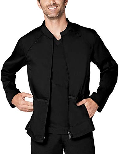 (Adar Responsive Scrubs for Men - Zip Front Scrub Jacket - R6206 - Black - M)