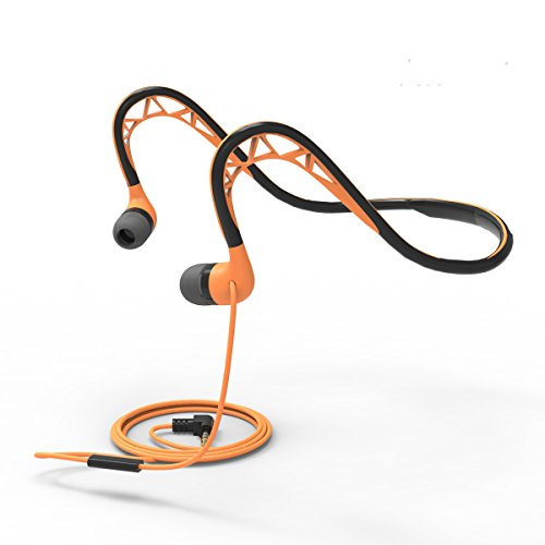 Running Headphones with Microphone and Remote Workout Earbuds Sweatproof Sport Earphones Neckband Headphones Wired 3.5mm Headphones for IPhone,IPad,Android Smartphones,Etc,Orange