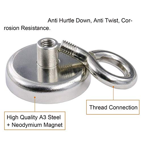 MQUPIN Magnetic Hooks Neodymium Recovery Hold Strong Heavy Duty Super Powerful Magnet Hanger with Eyebolt, 150LBS/68KG, D1.65 inch(42 mm) for Sea Salvage Diving Lake Fishing (392lbs Magnetic Hooks) by MQUPIN (Image #3)