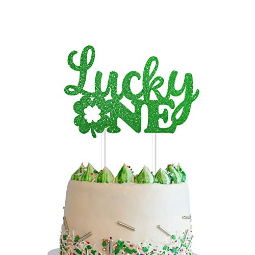 Yaaaaasss! St Patricks Day Lucky One Cake Topper Handmade Double Sided Green Glitter Four Leaf Clover Shamrock Cake Topper 1st First Birthday Party Decorations for Baby Shower Party Supplies