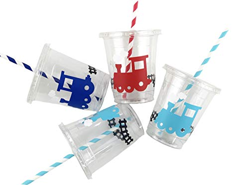 Train Party Cups - Set of 12 Transportation Boy Birthday Supplies Baby Shower