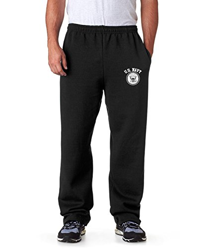 United States Navy Sweatpants Military Mens Pants S-3XL (Black, 3XL) - United States Navy Seal Seals