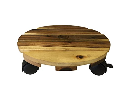 Avera Plant Caddy, Round Wood Planter and Stand (Planter Caddy)