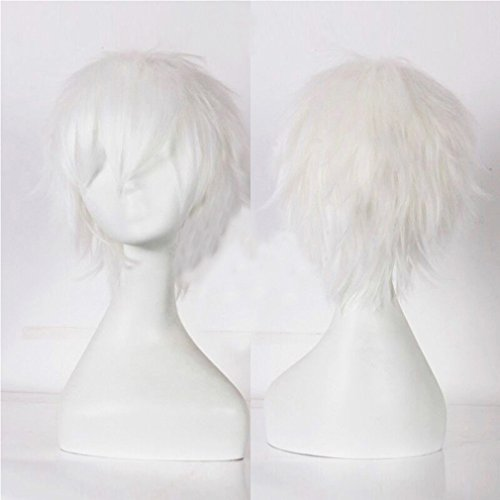 Blonde Cosplay Wig with Bangs Short 20 Styles Anime Synthetic Wig for Women and Man Layered Fluffy Hair Oblique Fringe Full Head Unisex +Stretchable Elastic Wig (Spiky Blonde Wig)