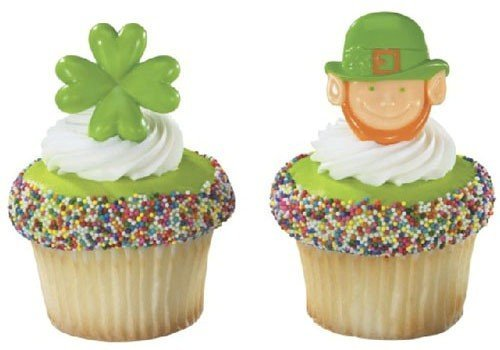 St. Patrick's Day Shamrock and Leprechaun Cupcake Rings - 24 ct