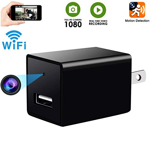 Hidden USB Camera-Wifi  HD 1080P Spy Cams -Snap SmartCam-Mini Plug in Security Camera-Wall Charger Adapter Camera- Motion Detection and Remote Video View -Real Time Home / Office Surveillance