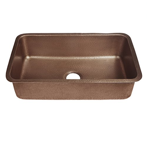 Sinkology SK202-30AC Transitional Orwell Undermount Handmade Solid Copper 30 In. Single Bowl Kitchen Sink In Antique Copper, 30-Inch, Hammered Antique Copper (Difference Between 16 And 18 Gauge Sinks)