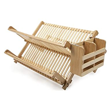 Core Bamboo Dish Rack with Utensil Holder, Natural