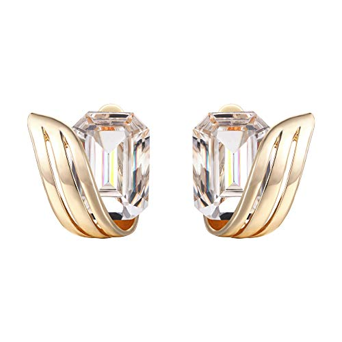BriLove Wedding Bridal Clip-On Earrings for Women Emerald Cut Crystal Floral Leaf Earrings Clear Gold-Toned