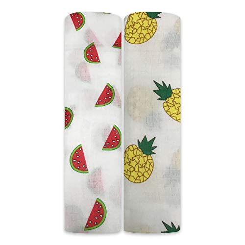 Boy and Girl 100% Cotton Swaddle Blanket, Cute Baby Bamboo Muslin Blankets for Large Size 47 x 47 inches (Fruit Land)