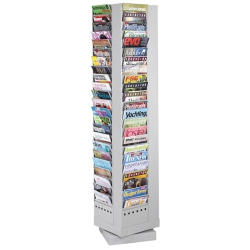 Safco Rotary Magazine Rack - 68quot; Height x 14quot; Width x 14quot; Depth - 92 Pocket(s) - Steel - Gray