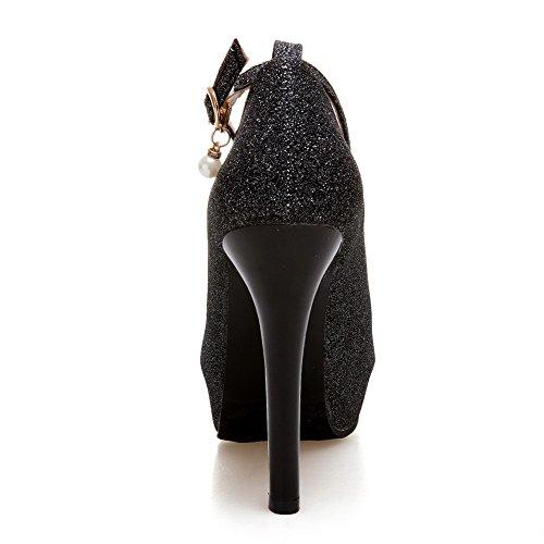 talons VogueZone009 pompes à chaussures femmes mélangent solide des boucle à hauts matériaux noires talons qrIrxfnC4w
