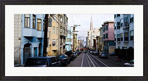 Cars Parked on The Street, Transamerica Pyramid, Washington Street, San Francisco, California, USA by Panoramic Images Framed Art Print Wall Picture, Espresso Brown Frame, 38 x 21 inches