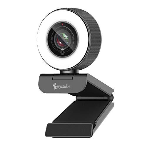 🥇 Streaming HD Webcam 1080P con luz de anillo