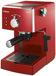 Saeco Poemia Focus HD8423/22 - Máquina de café espresso manual para café molido y monodosis E.S.E, 950 W, color rojo