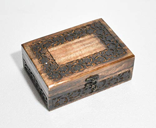 Hind Handicrafts Beautifully Handmade & Handcrafted Rosewood Borders Engraving Wooden Cremation Box/Urns for Human Ashes Adult, Funeral Urn Box (7