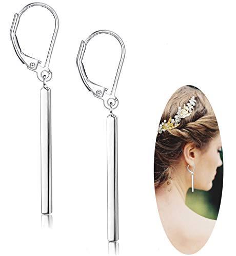 (Milacolato 925 Sterling Silver Vertical Bar Dangle Earrings for Women Girls Drop Earrings)