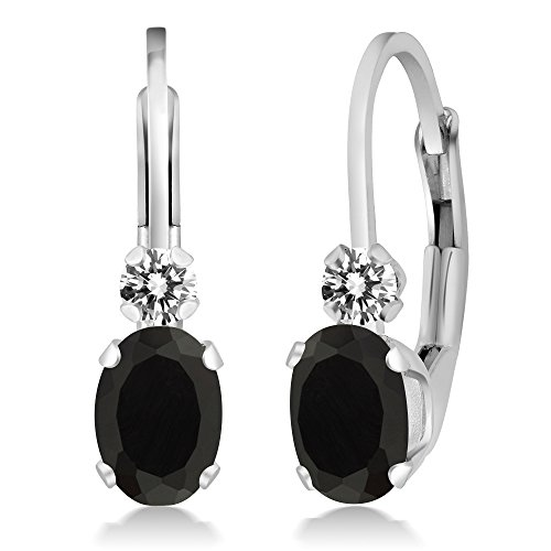 Gem Stone King 0.85 Ct Oval Black Onyx White Diamond 925 Sterling Silver Leverback Earrings