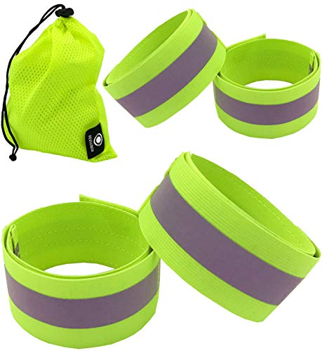 Reflective Bands for Arm, Wrist, Ankle, Leg. Reflector Bands. High Visibility Reflective Running Gear for Women and Men Cycling Walking Bike Safety Tape Straps - Bicycle Pants Clip, ()