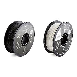 HATCHBOX 3D PLA-1KG1.75-BLK PLA 3D Printer Filament, Dimensional Accuracy +/- 0.05 mm, 1 kg Spool, 1.75 mm, Black and 3D PLA-1KG1.75-WHT PLA 3D Printer Filament, Dimensional Accuracy +/- 0.05 mm, 1 kg Spool, 1.75 mm, White bundle