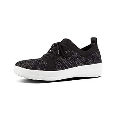 FITFLOP F-Sporty Uberknit Women's Casual Sneaker, Black, 5 US