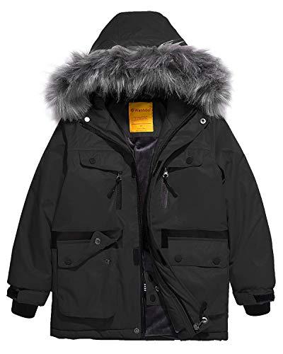 (Wantdo Boys Fleece Lined Skiing Jacket Water Repellent Winter Coat Black 10/12 )