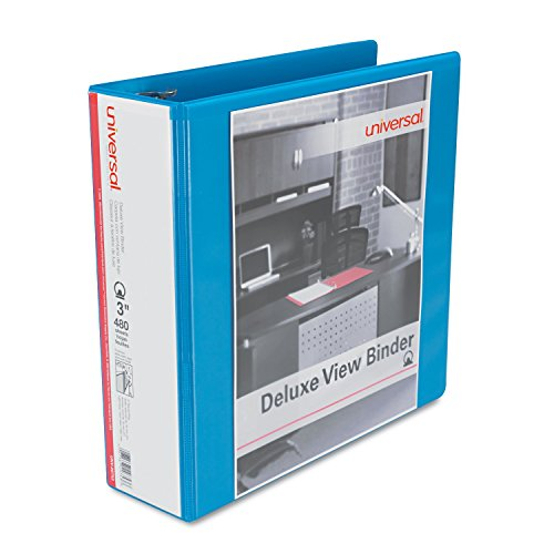 Universal Deluxe Round Ring View Binder, 3 Capacity, Light Blue (20753)