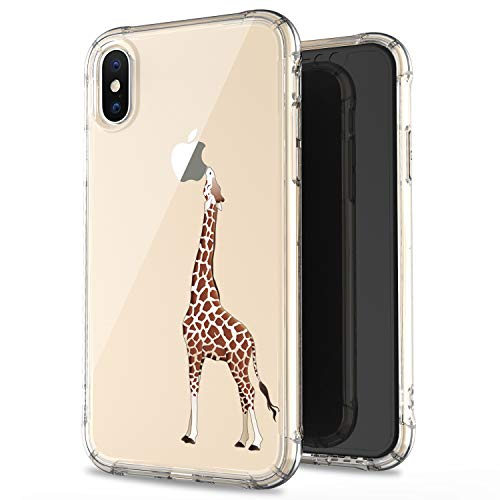 JAHOLAN Compatible iPhone Xs Max Case Clear Cute Amusing Whimsical Design Brown Eating Giraffe Flexible Bumper TPU Soft Rubber Silicone Cover Phone Case for iPhone Xs Max 2018 6.5 inch